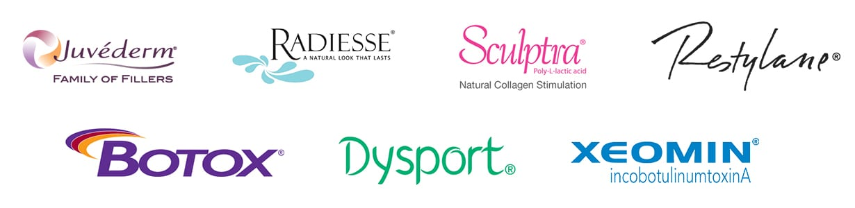 Product logo images for Juvederm, Radiesse, Sculptra, Restylane, Botox, Dysport and Xeomin injectables